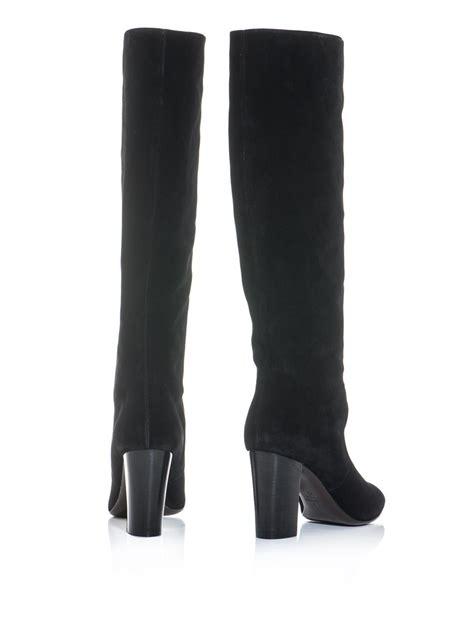 knee high heel boots cheap lyst lanvin suede midheel kneehigh boots in black