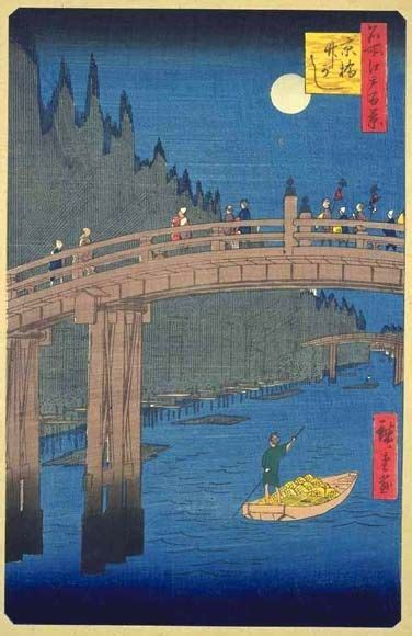 hiroshige one hundred famous 3836556596 ando hiroshige riverside bamboo market at kyobashi 1857 from the series one hundred famous views