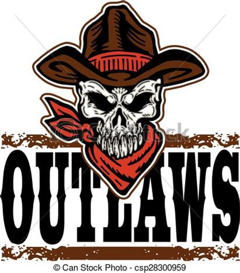 clipart vector of outlaws cowboy skull outlaws design