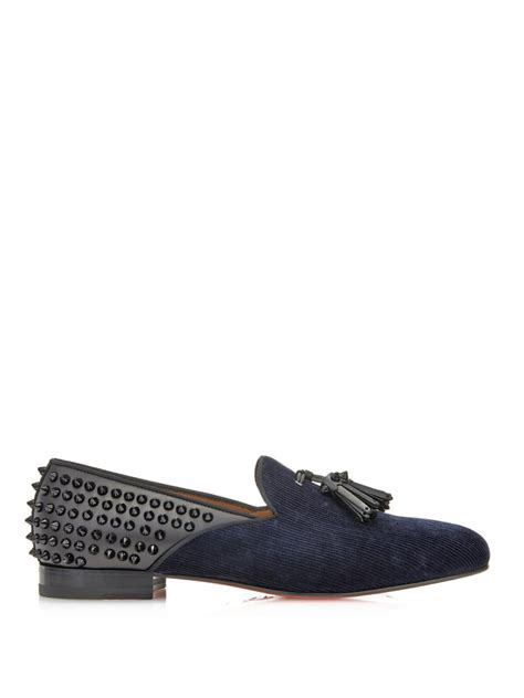 christian louboutin mens loafers lyst christian louboutin tassilo studded loafers in blue