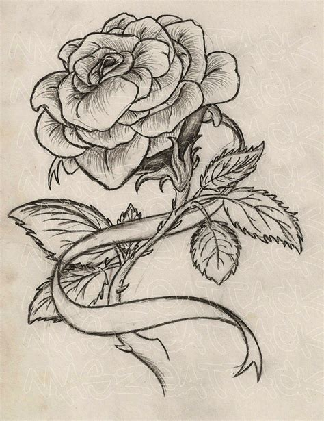 rose tattoo with ribbon tatto designs