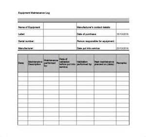 Equipment Log Book Template by Maintenance Log Template 10 Free Word Excel Pdf