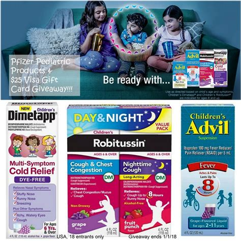 Pfizer Giveaway - 25 visa gc and pfizer pediatrics products prize package 1 us ends 1 1 18 miki s hope