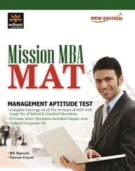 Mat Test For Mba by Mission Mba Mat Management Aptitude Test Book By Bs