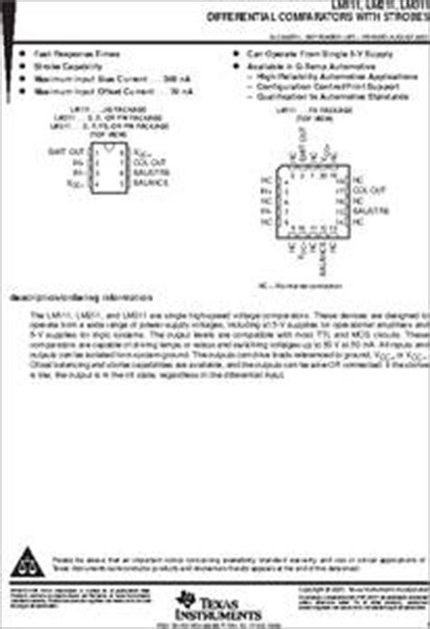 Lm311ng lm311p datasheet ti lm311 single strobed differential
