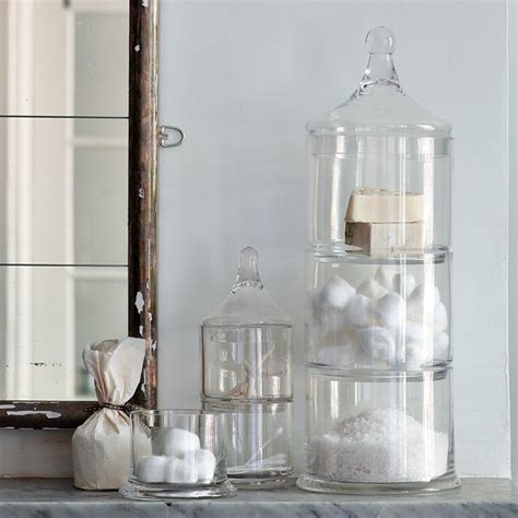 jar bathroom storage stacked apothecary jars traditional bathroom canisters