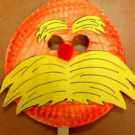 dr seuss paper plate craft the lorax mask dr seuss crafts for dr seuss in