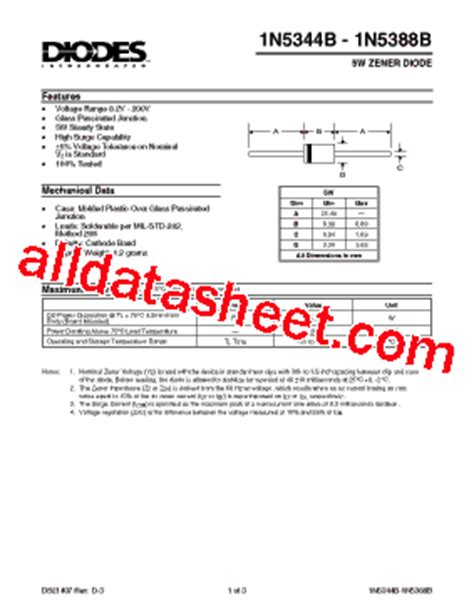 all zener diode datasheet pdf 1n5344 datasheet pdf diodes incorporated