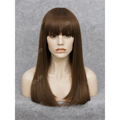 Medium Wig Synthetic Wavy Black Fark Brown beautiful wefted cap brown synthetic