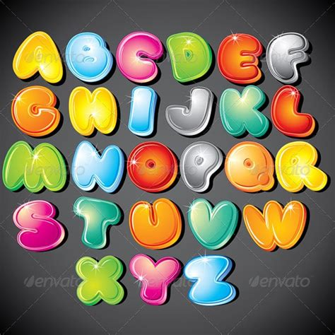 funky cartoon alphabet vector clipart  pilart