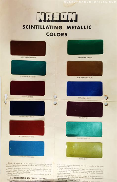 paint color chip for nason paint autos post