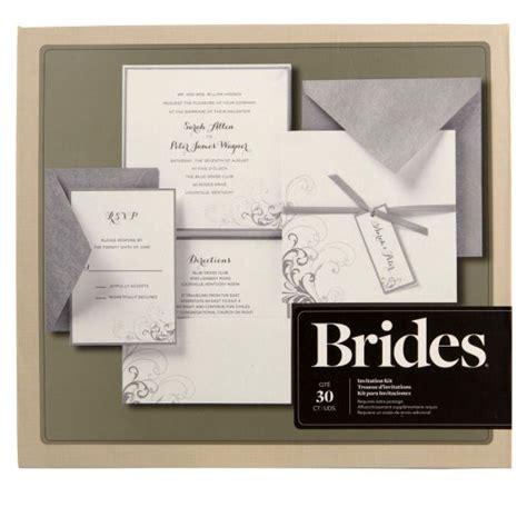 brides printable wedding invitation kits brides 174 silver and white pocket invitation kit