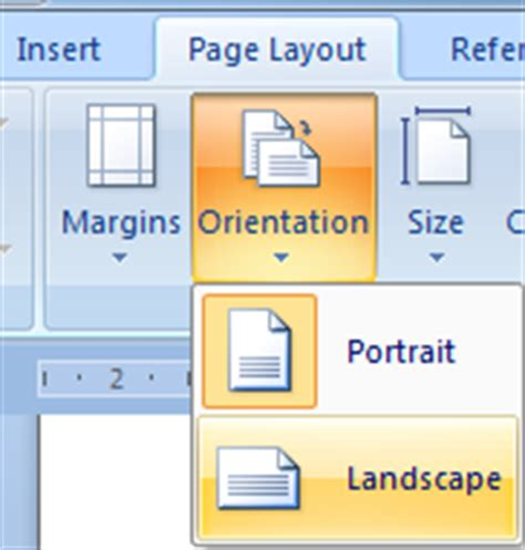 page layout to landscape in word 2007 clint boessen s blog make one page landscape microsoft