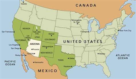 map us states bordering mexico arizona des rochers des cactus et du desert arizona
