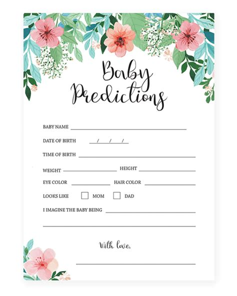 baby shower prediction cards template printable baby prediction for a floral themed baby