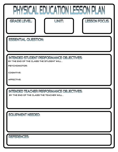 physical education lesson plan templates free sanjonmotel