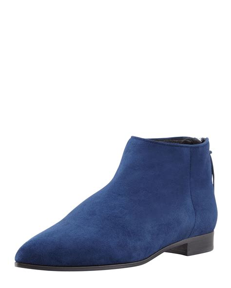 miu miu womens blue suede point toe flat ankle boot ijshoes