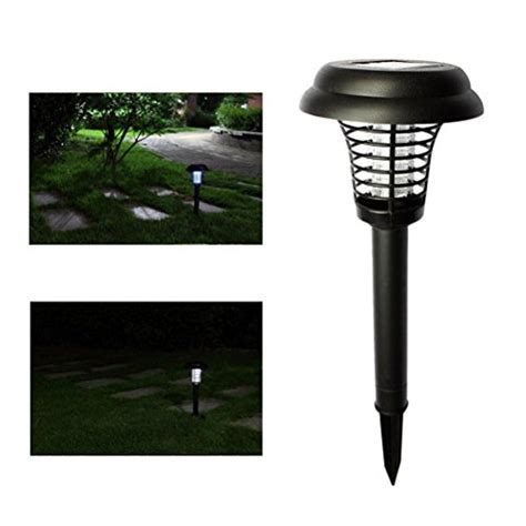 Baru Led Bug Zapper Solar Lawn Light Aa K 5009 Black Diskon jepop electronic insect killer mosquito bug zapper led solar powered outdoor garden lawn cing
