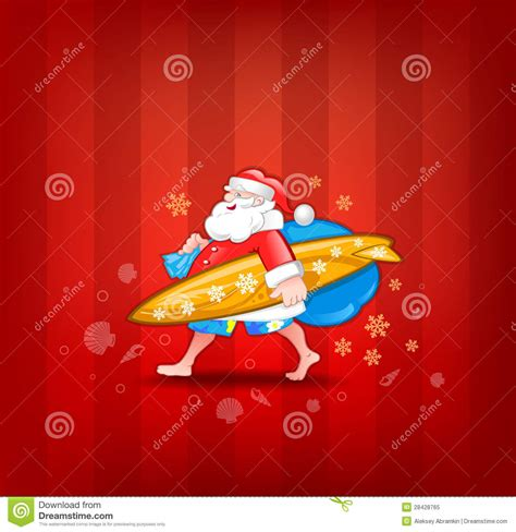 santa with surfboard royalty free stock photo image
