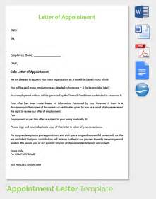 appointment letter format for regular employee 25 appointment letter templates free sle exle