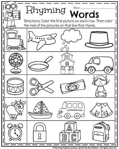 words that rhyme with bench back to school kindergarten worksheets kindergarten