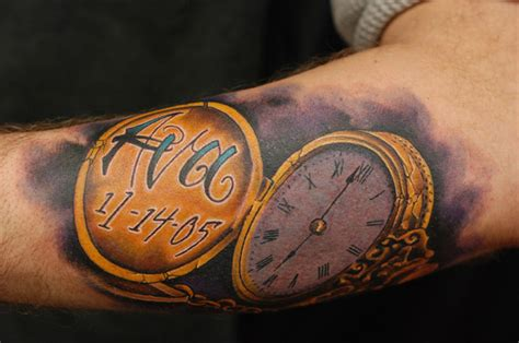 gold ink tattoo vintage gold stopwatch arm by jon glahn