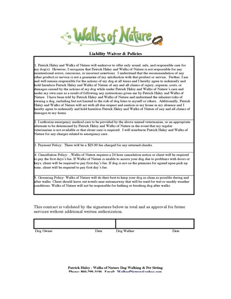 dog walking service contract free download