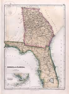 Florida Georgia Map by Antique Map Of Florida And Georgia 1867 Black S Atlas By