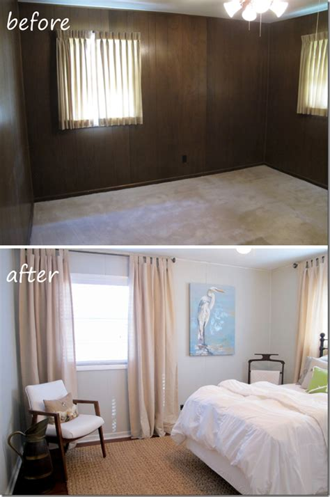 painting paneling in basement guest bedroom before and after painted paneling hardwood