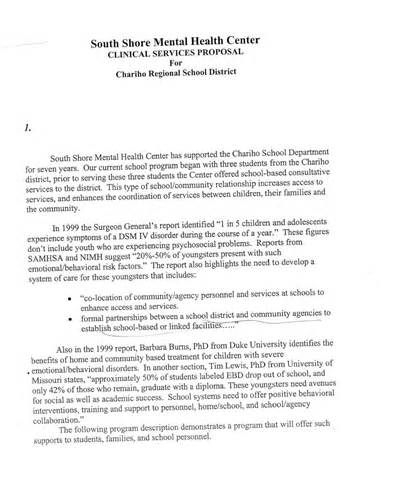 Cover Letter For Bid by South Shore Mental Health Center 2003 Rfp Bid Chariho School Parents Forum