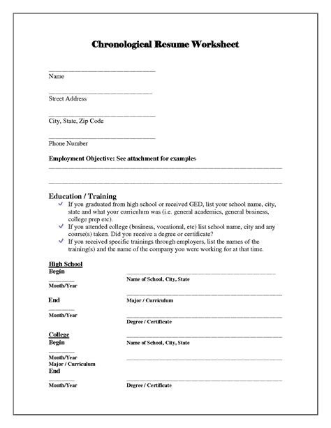 resume worksheet template 13 best images of simple resume worksheet college brag