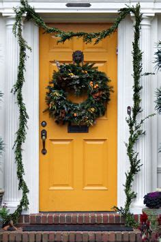 mustard front door a yellow front door with wreath