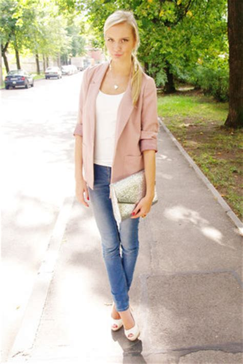 h m light pink blazer light pink h m blazers sky blue cubus jeans white h m