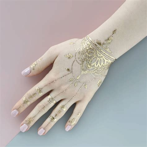 henna metallic temporary tattoo henna gold temporary by paperself