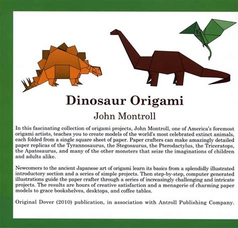 Dinosaur Origami Book - welcome to dover publications