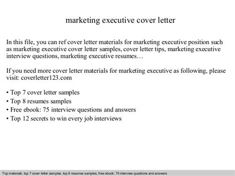 cover letter for marketing executive position marketing executive cover letter