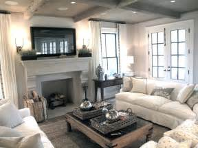 Slipcover Style Sofas Flatscreen Tv Over Fireplace Transitional Living Room