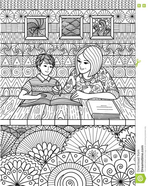 coloring pages for adults mom mom help with study stock vector image 73198488