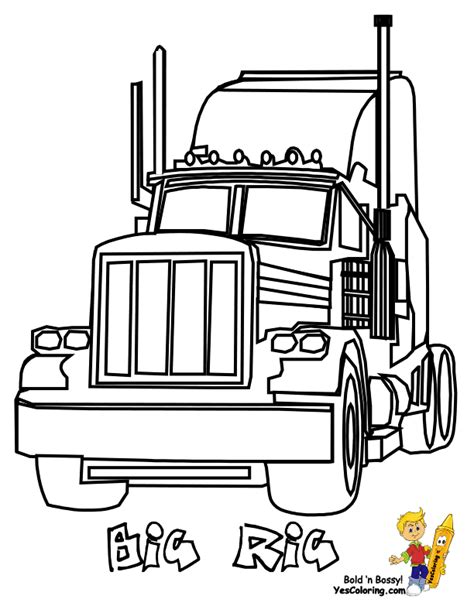 coloring page big truck big rig truck coloring pages free 18 wheeler boys
