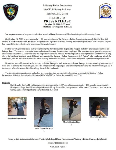 Release Investigation by Salisbury News Spd Press Release Robbery Investigation