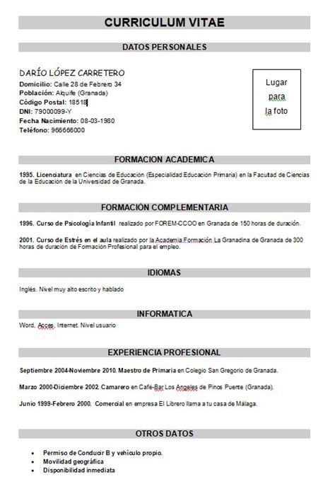 Modelo Curriculum Vitae Argentina Basico Ejemplo Curr 237 Culum B 225 Sico Modelo Curriculum