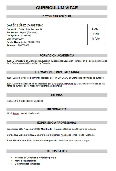 Modelo De Curriculum Vitae Basico Ejemplo Ejemplo Curr 237 Culum B 225 Sico Modelo Curriculum