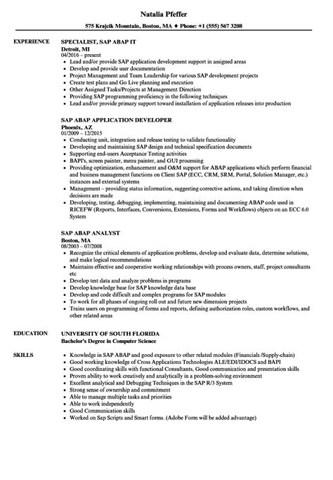 sample resume with sap experience lovely sap abap 2 years experience