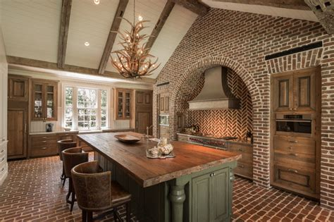 grand designs brick arch house hedwig rustic kitchen houston by thompson custom homes
