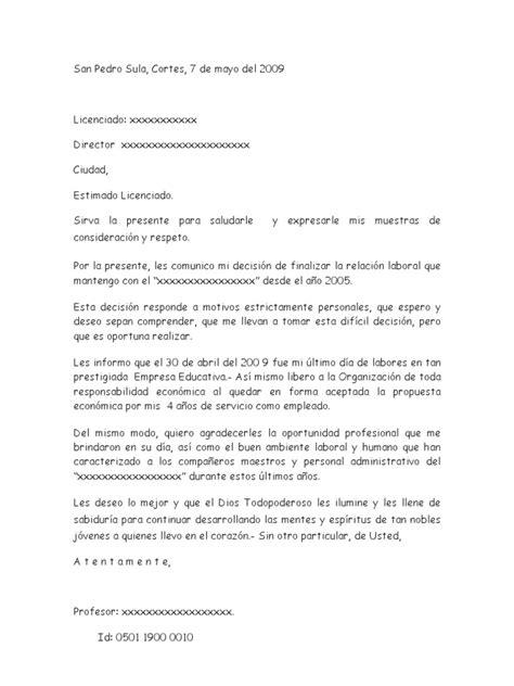 carta de renuncia trabajo doc carta de renuncia