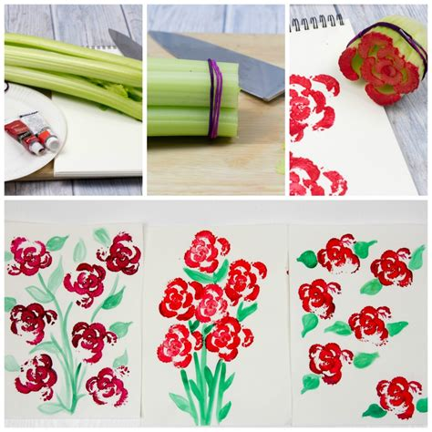 Printing Flowers with Celery Stalks   Vegetable Printing