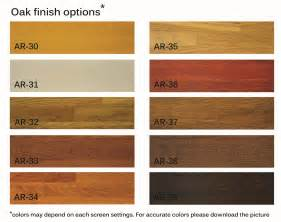Oak woods stains colors charts