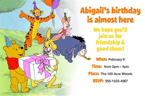 Custom Winnie The Pooh winnie the pooh custom birthday invitation happy