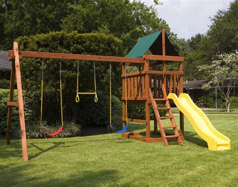 backyard playset plans do it yourself wooden playset and swingset plans