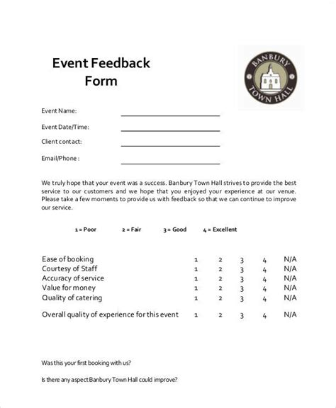 event feedback form template word 9 sle event feedback forms sle templates